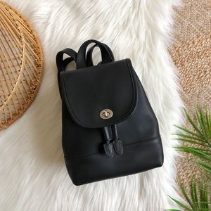 COACH Vintage 90's Black Leather Mini Backpack